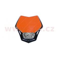 UNI přední maska včetně světla V-Face, RTECH (oranžovo-černá)
