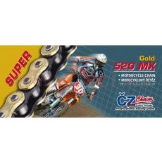 řetěz 520MX, ČZ - ČR (barva zlatá, 120 článků vč. rozpojovací spojky CLIP)