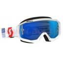 brýle HUSTLE MX, SCOTT - USA (bílá/červená, modré chrom plexi s čepy pro slídy)