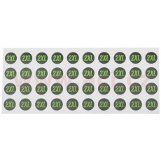 sada samolepek pro dodatečné označení velikosti přileb, ACI (černé/zelené, arch 40ks samolepek, velikost 2XL)