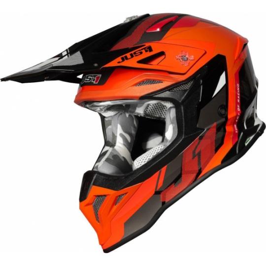 Moto přilba JUST1 J39 REACTOR neonově oranžovo/černá