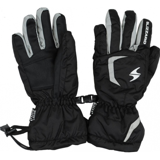 lyžařské rukavice BLIZZARD Reflex junior ski gloves, black/silver
