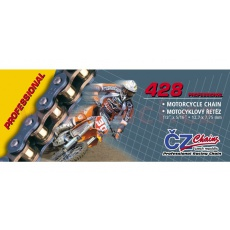řetěz 428MX, ČZ (barva zlatá, 108 článků vč. rozpojovací spojky CLIP)