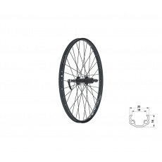"KELLYS Zapletené kolo zadní KLS WASPER CASSETTE V-brake R, 24"", black"