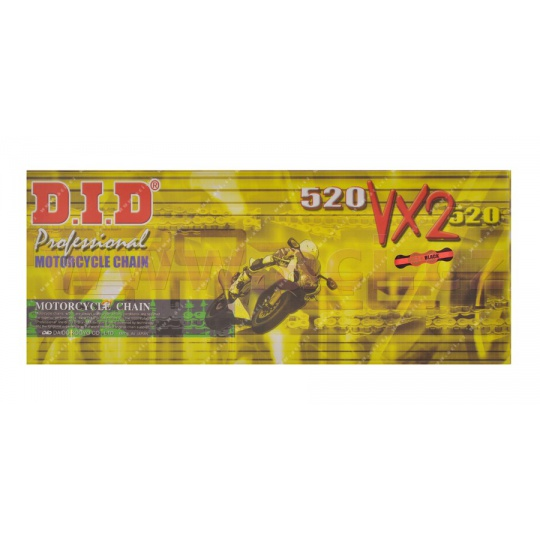 řetěz 520VX2, D.I.D. - Japonsko (barva černo-zlatá, 112 článků vč. spojky ZJ)