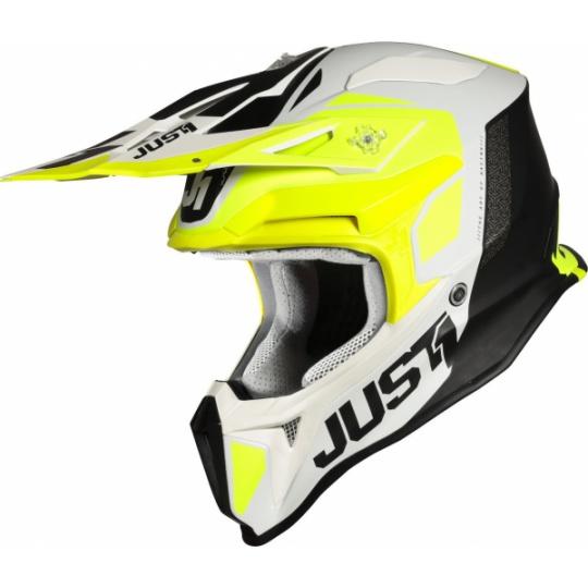 Moto přilba JUST1 J18 PULSAR neonově žluto/bílo/černá