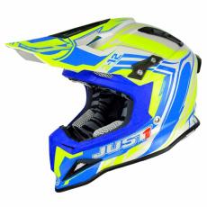 Moto přilba JUST1 J12 FLAME žluto/modrá
