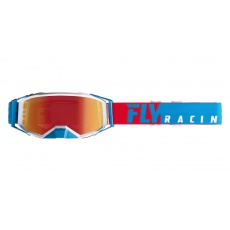 brýle ZONE PRO 2019, FLY RACING (červené/bílá/modrá, modré chrom plexi)