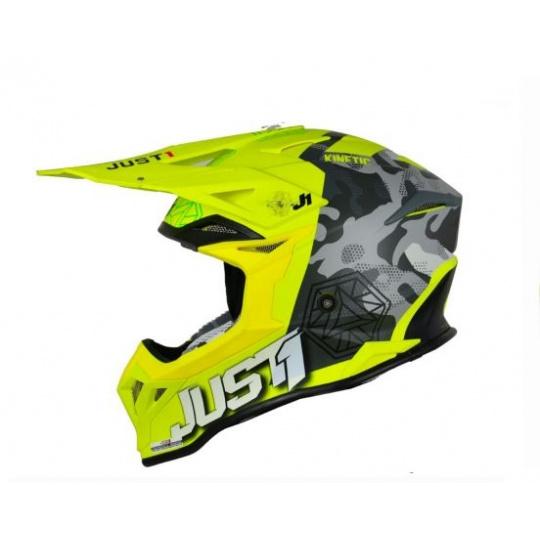 Moto přilba JUST1 J39 KINETIC matná camo červeno/limetkovo/fluo žlutá
