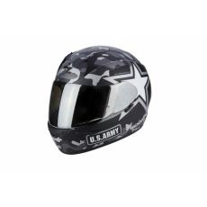 Moto přílba SCORPION EXO-390 ARMY matná černo/stříbrná