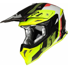 Moto přilba JUST1 J39 REACTOR matná neonově žluto/červeno/titanová