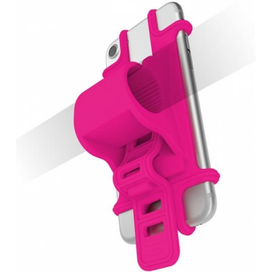 Univerzální držák CELLY EASY BIKE k upevnění na řídítka, fluo růžový