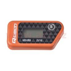 měřič motohodin bezdrátový s nulovatelným počítadlem, Q-TECH (oranžový)