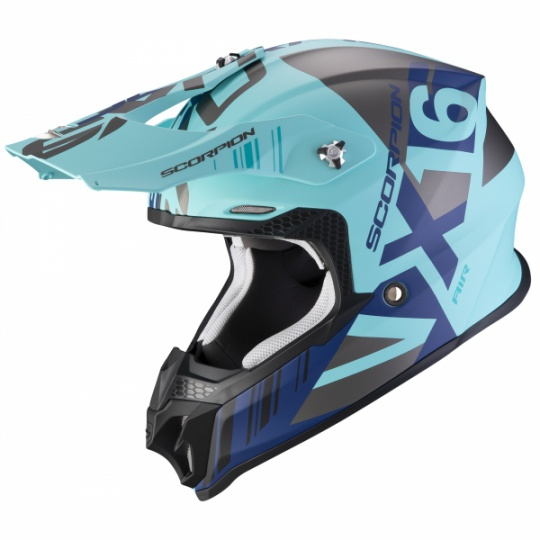 Moto přilba SCORPION VX-16 AIR MACH matná modro/stříbrná