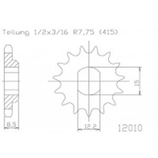 řetězové kolečko ESJOT KTM 50 cc 13-  10 zubů