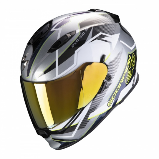 Moto přilba SCORPION EXO-510 AIR BALT stříbrno/bílo/neonově žlutá