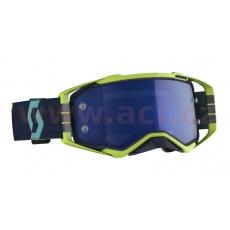 brýle PROSPECT, SCOTT (modrá/žlutá, modré chrom plexi s čepy pro slídy)