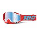 brýle Racecraft Kepler, 100% - USA (bílá/červená, modré chrom plexi s čepy pro slídy + chránič nosu + 20 strhávaček)