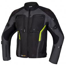 Moto bunda REBELHORN BORG černo/tmavě šedo/fluo žlutá