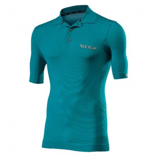 SIXS Polo funkční tričko s límečkem modrá