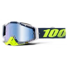 brýle RACECRAFT ECLIPSE, 100% (modré zrcadlové a čiré plexi + 20 strhávaček)