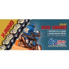řetěz 520ORMX, ČZ - ČR (barva zlatá, 98 článků vč. rozpojovací spojky CLIP)