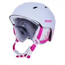 helma BLIZZARD Viva Demon ski helmet, white matt/magenta flowers