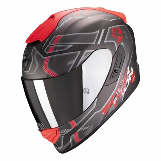 Moto přilba SCORPION EXO-1400 AIR SPATIUM matná stříbrno/červená