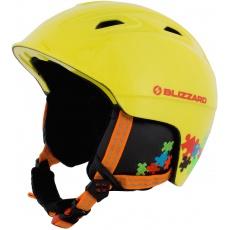 helma BLIZZARD Demon ski helmet junior,  neon yellow/colorfull puzzles