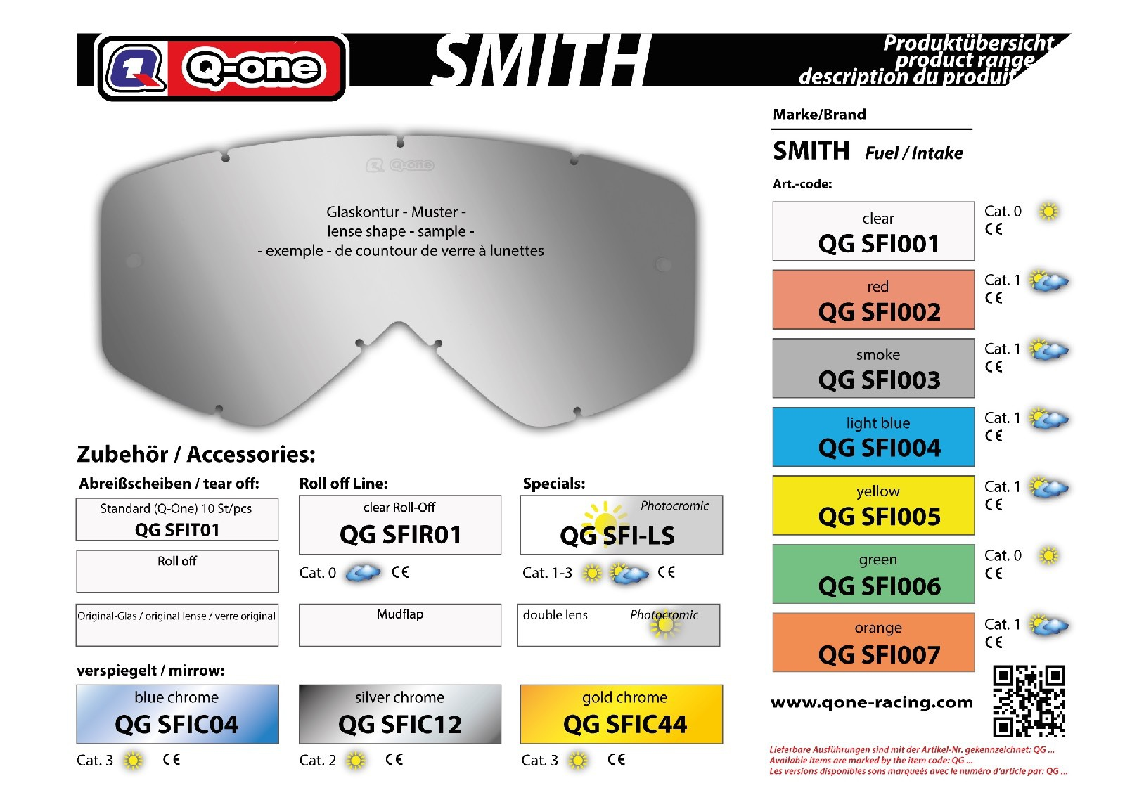 sklo Smith Fuell Intake žluté