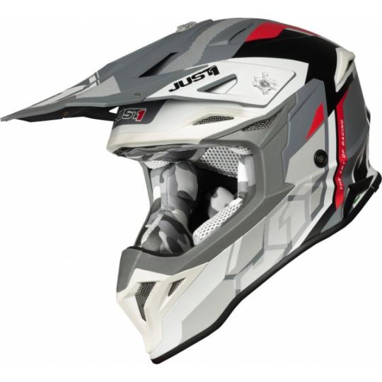 Moto přilba JUST1 J39 REACTOR matná bílo/červeno/šedá