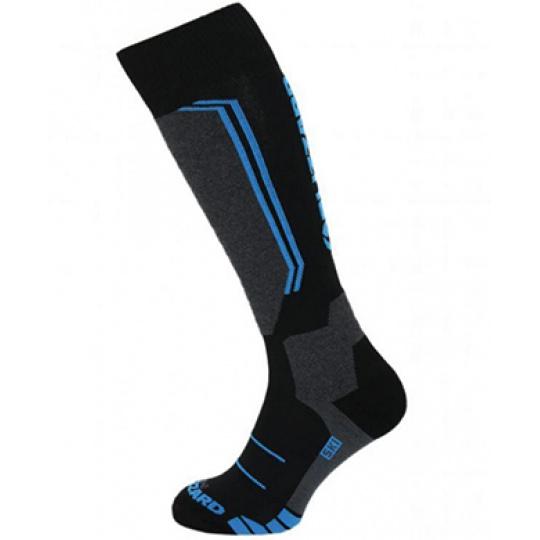 lyžařské ponožky BLIZZARD Allround wool ski socks junior, black/anthracite/blue