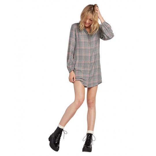 Dámské šaty Volcom Fad Friend Dress Black Plaid