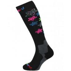 lyžařské ponožky BLIZZARD Viva Flowers ski socks, black/flowers
