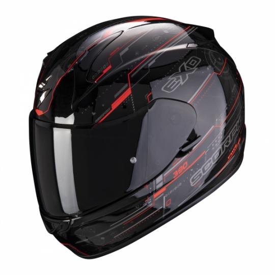 Moto přilba SCORPION EXO-390 BEAT černo/neonově červená