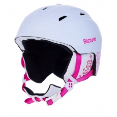helma BLIZZARD Demon ski helmet junior, white matt/magenta flowers