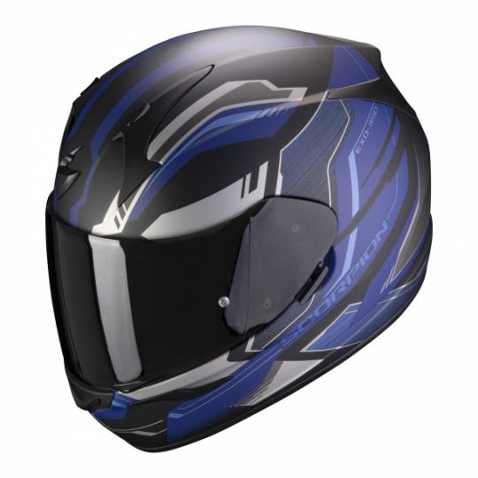 Moto přilba SCORPION EXO-390 BOOST matná černo/stříbrno/modrá