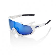 Speedtrap Matte White - HiPER Blue Multilayer Mirror Lens