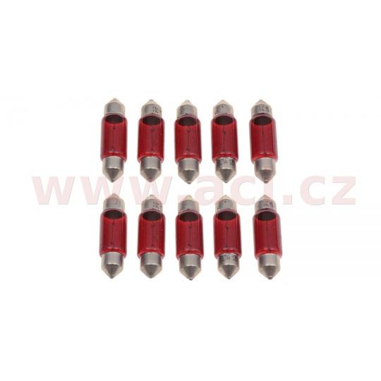 žárovka C5W 12V 5W (patice SV8,5) červená (sada 10 ks)