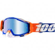 brýle RACECRAFT ROXBURRY, 100% (modré zrcadlové a čiré plexi + 20 strhávaček)