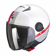 Moto přilba SCORPION EXO-CITY STRADA bílo/stříbrno/červená