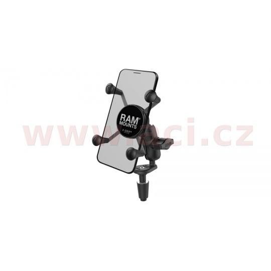 kompletní sestava držáku X-Grips uchycením do krku řízení motocyklu, RAM Mounts