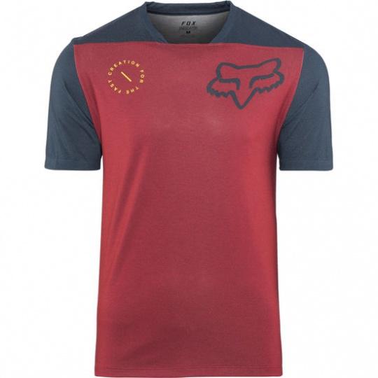Pánský Cyklistický dres Fox Dres Fox Indicator S/S Jersey Asym Cardinal