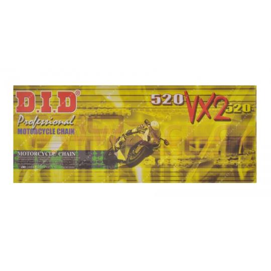 řetěz 520VX2, D.I.D. - Japonsko (barva černá, 106 článků vč. spojky ZJ)