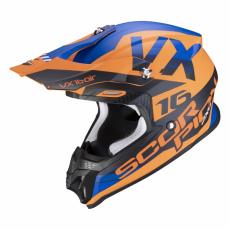 Moto přilba SCORPION VX-16 AIR X-TURN matná oranžovo/modrá