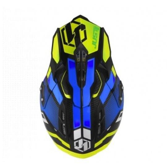 Kšilt JUST1 J12 Vector fluo žluto/modro/carbon
