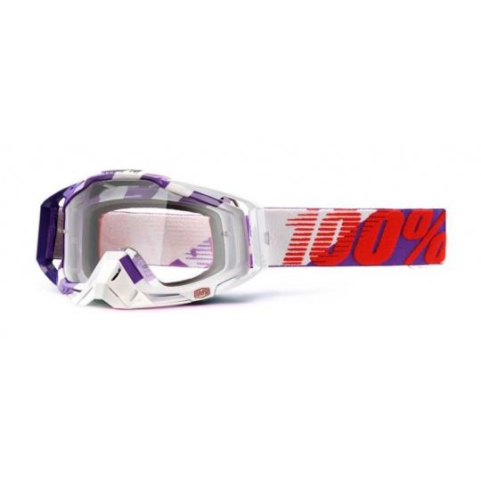 100% brýle motokrosové Racecraft Purple Main čirá skla + chránič nosu + 20 strhávaček