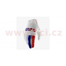 rukavice RIDEFIT, 100% - USA (bílá/modrá/červená)