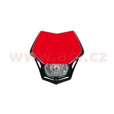 UNI přední maska včetně světla V-Face, RTECH (červeno-černá)