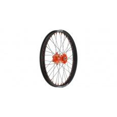 """přední kolo kompletní (21"""" x 1,6"""") KTM, Q-TECH (černý ráfek, oranžový střed)"""